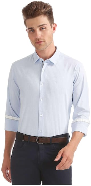 Flying Machine Men Slim Fit Formal Shirt - Blue