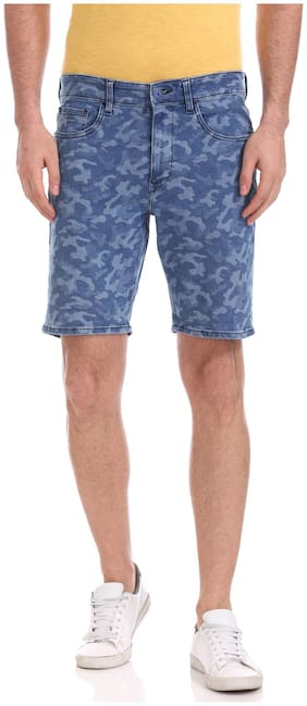 Men Printed Denim Shorts