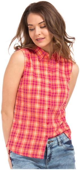 Flying Machine Women Regular fit Checked Shirt - Pink