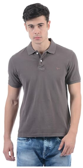 Flying Machine Men Solid Polo Neck T-Shirt