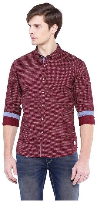 Flying Machine Men Slim Fit Casual shirt - Maroon