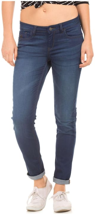Flying Machine Women Slim Fit Mid Rise Solid Jeans - Blue