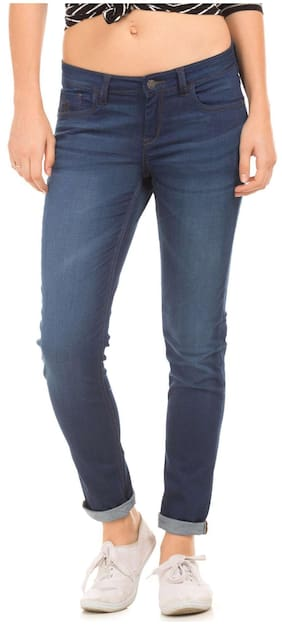Flying Machine Blue Cotton Rinse Washed Slim Fit Jeans