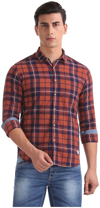 Flying Machine Men Red Checked Slim Fit Casual Shirt