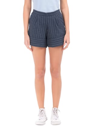 Flying Machine Blue Cotton High Rise Striped Shorts