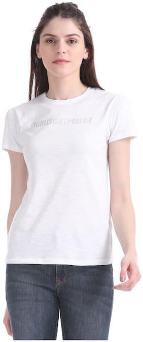 Flying Machine Women Printed Round neck T shirt - White