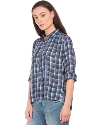 Check Popover Flying Fit Rayon Shirt Regular Blue Machine XYgZ6F