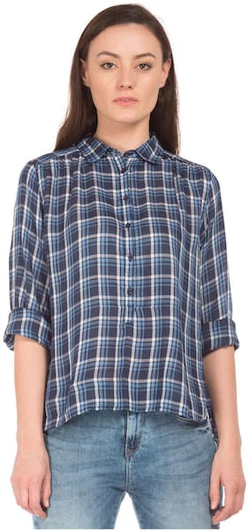 Flying Machine Blue Rayon Regular Fit Check Popover Shirt