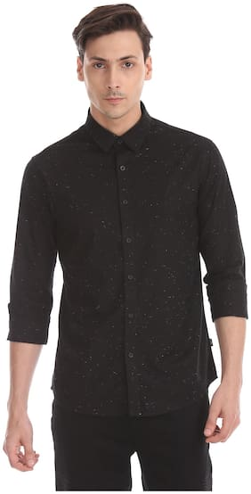 Men Slim Fit Weaved Casual Shirt