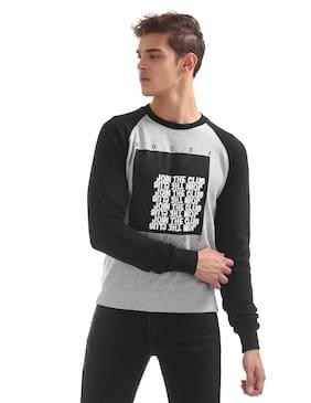Flying Machine Men Cotton Sweatshirt - Grey