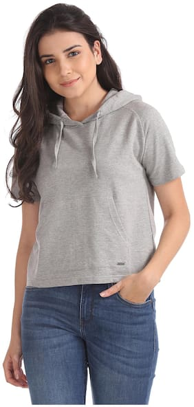Flying Machine Women Solid Hoodie - Grey