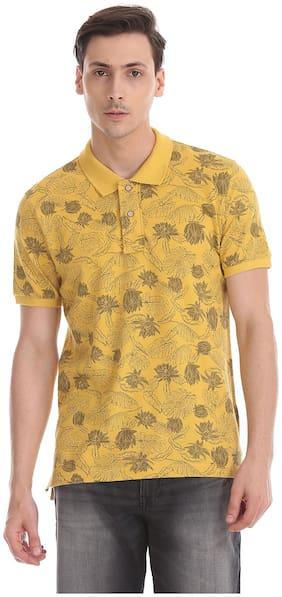 Flying Machine Men Regular fit Polo neck Printed T-Shirt - Yellow
