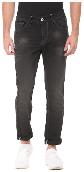Flying Machine Black Cotton Regular Fit Stone Wash Jeans