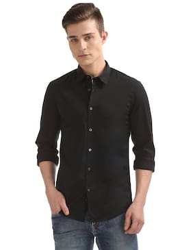 Flying Machine Men Slim Fit Casual shirt - Black