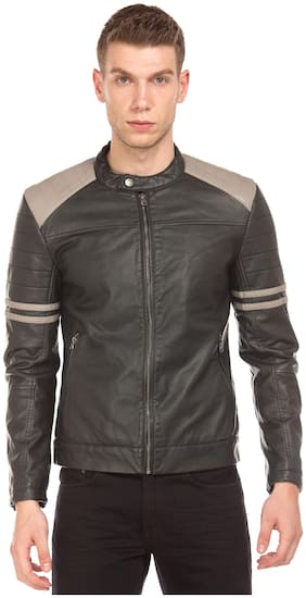 Men PU Full Sleeves Jacket