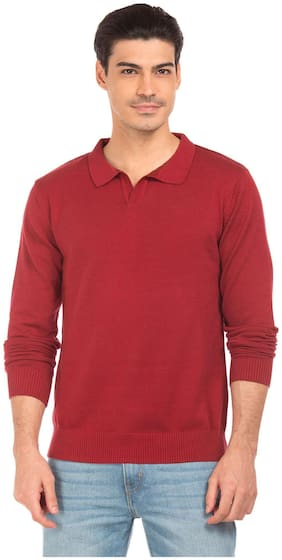 Flying Machine Red Cotton Solid Slim Fit Sweater