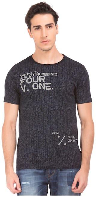 Flying Machine Men Slim fit Round neck Printed T-Shirt - Black