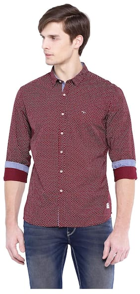Flying Machine Men Slim Fit Casual shirt - Maroon