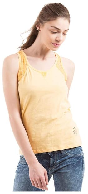 Flying Machine Yellow Mid Rise Regular Fit Tank Tops