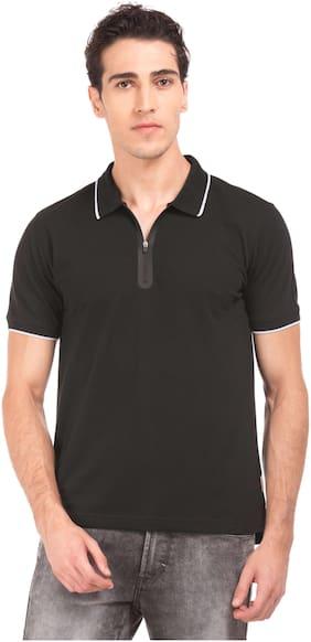 Flying Machine Men Regular fit Henley neck Solid T-Shirt - Black