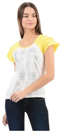 Flying Machine Women Striped Round Neck T-Shirt - White