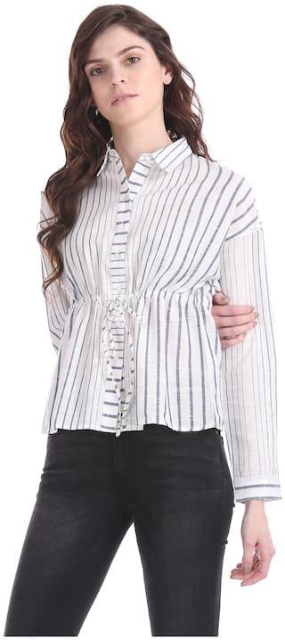 Flying Machine Women White Striped Regular Fit Shirt