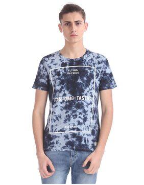 Flying Machine Men Regular Fit Round Neck Printed T-Shirt - Blue