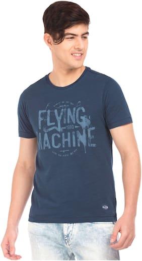 Flying Machine Men Printed Blue T-Shirt