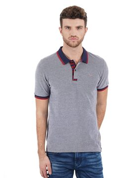 Flying Machine Men Regular Fit Polo Neck Solid T-Shirt - Grey