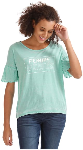 Flying Machine Women Printed Boxy top - Green