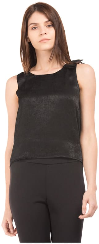 Flying Machine Women Solid Regular top - Black