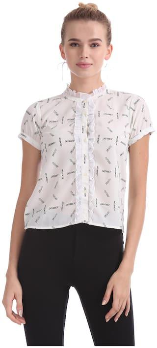 Flying Machine Women White Printed Regular Fit Shirt
