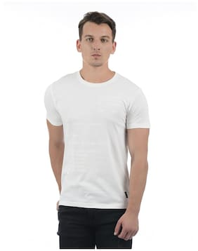 Flying Machine Men White Round Neck T-Shirt