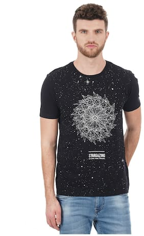 Flying Machine Men Regular fit Round neck Printed T-Shirt - Black
