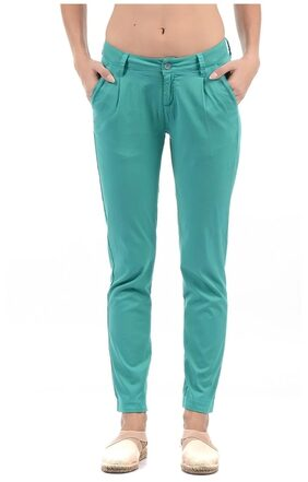 Flying Machine Women Regular Fit Solid Pants - Green