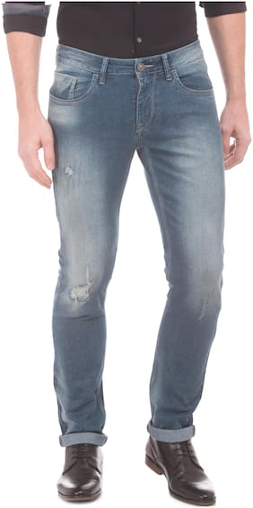 Flying Machine Men Mid Rise Skinny Fit ( Tapered Fit ) Jeans - Blue