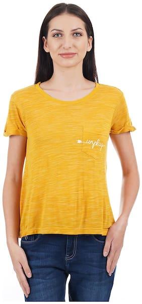Flying Machine Solid Yellow T Shirt
