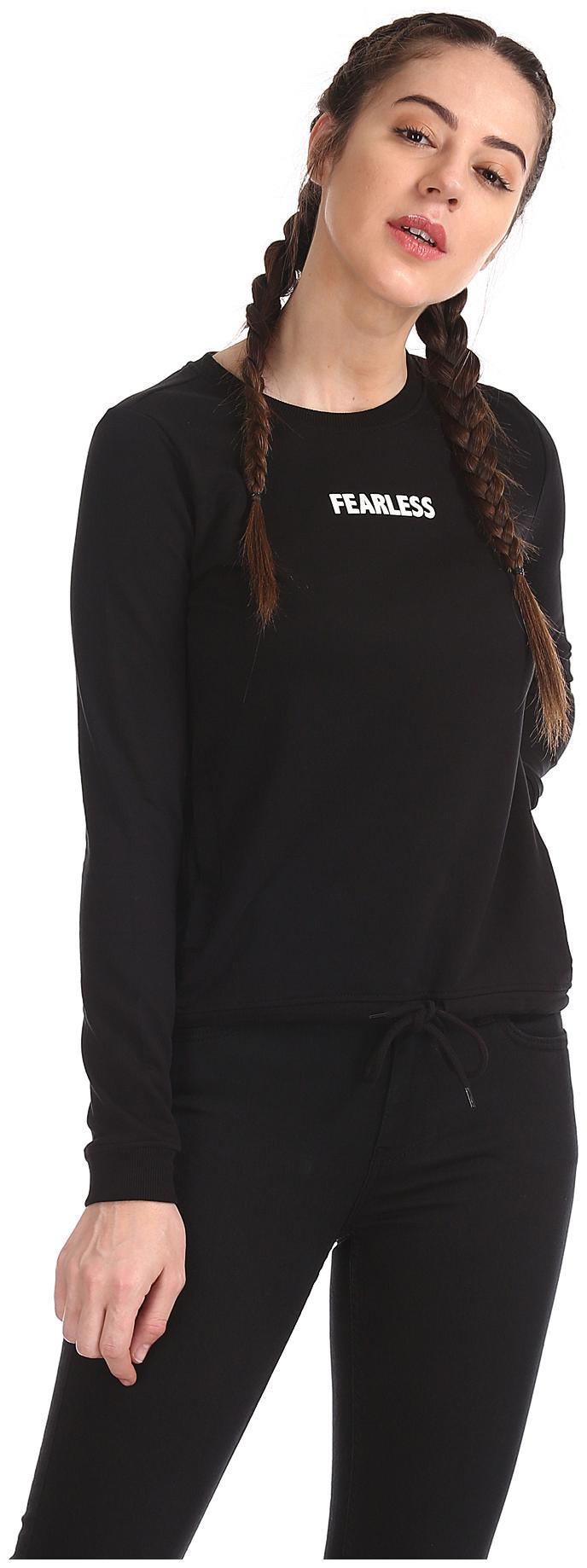 Flying Machine Women Printed Sweatshirt   Black