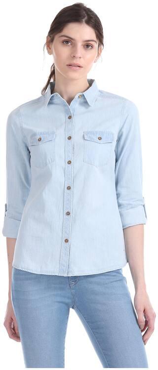 Flying Machine Women Blue Solid Regular Fit Shirt