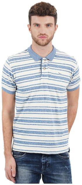 Flying Machine Men Regular fit Polo neck Striped T-Shirt - Blue