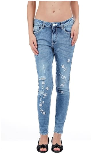 Flying Machine Women Skinny Fit Low Rise Printed Jeans - Blue