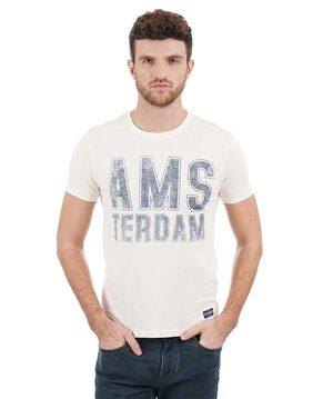 Flying Machine Men Regular Fit Round Neck Printed T-Shirt - White