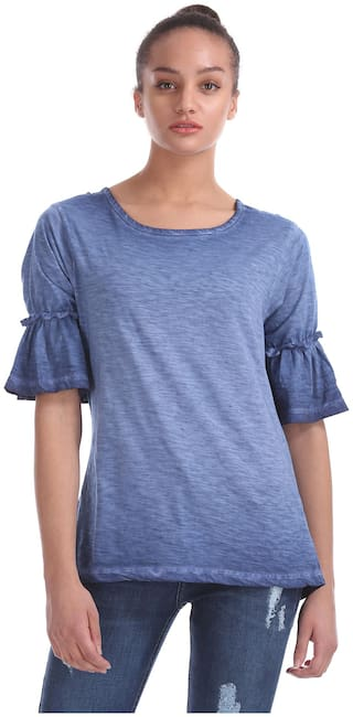 Flying Machine Women Solid Regular top - Blue