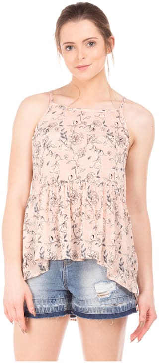 Flying Machine Women Printed Regular top - Beige