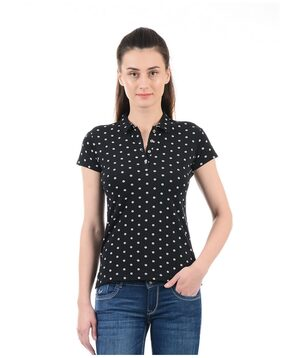 Flying Machine Women Polka Dots Mandarin Collar T-Shirt - Black