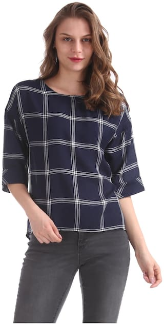 Flying Machine Women Checked Boxy top - Blue