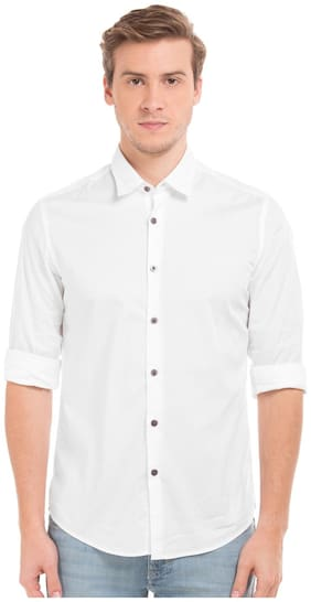 Flying Machine Men White Solid Full Sleeves Casual shirts