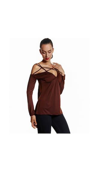 Fold Sexy Shoulder Long Sleeve T-Shirt
