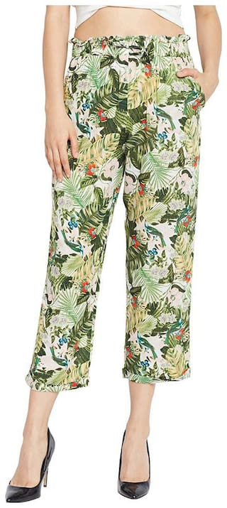 OXOLLOXO Women Regular fit Mid rise Printed Regular trousers - Multi