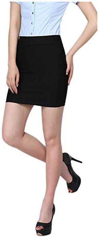 Stars and You Solid Pencil skirt Mini Skirt - Black